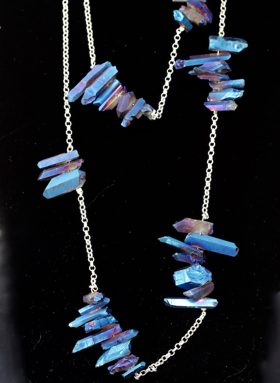 00124 Collier argent 925 et quartz galvanisés