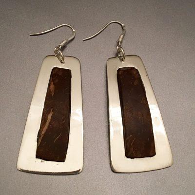 00139 Boucles d'oreilles argent 925 et noix de coco
