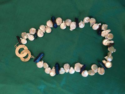 00148 Collier argent 925, perles d'eau douce et quartz