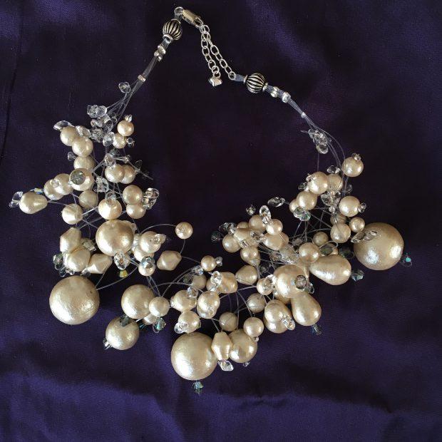 """00214 Tour de cou """"cosmique"""" perles de coton et cristaux Swarovski"""
