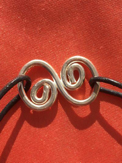 00272 Bracelet argent 925 et cuir