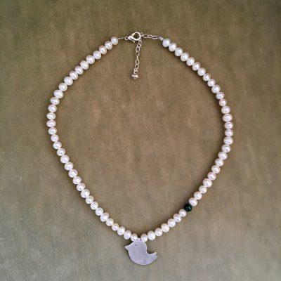 Collier argent 925, perles d'eau douce et malachite