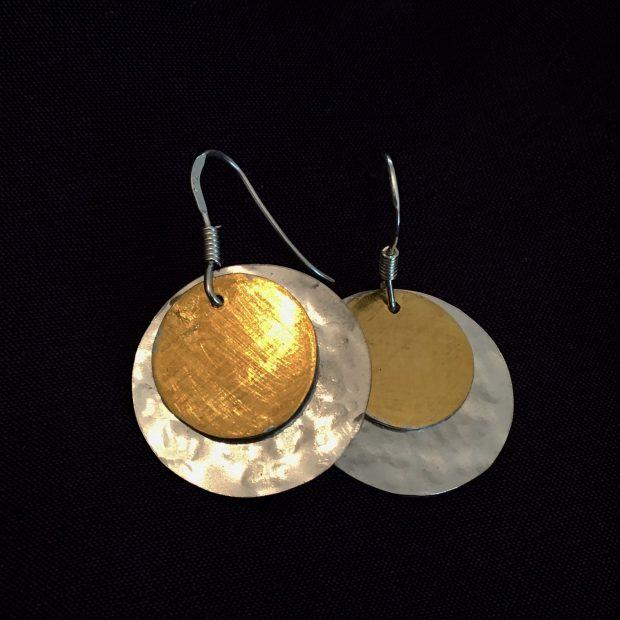 00293 Boucles d'oreilles argent 925 et vermeil