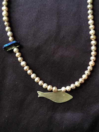 00287 Collier perles d'eau douce et argent 925