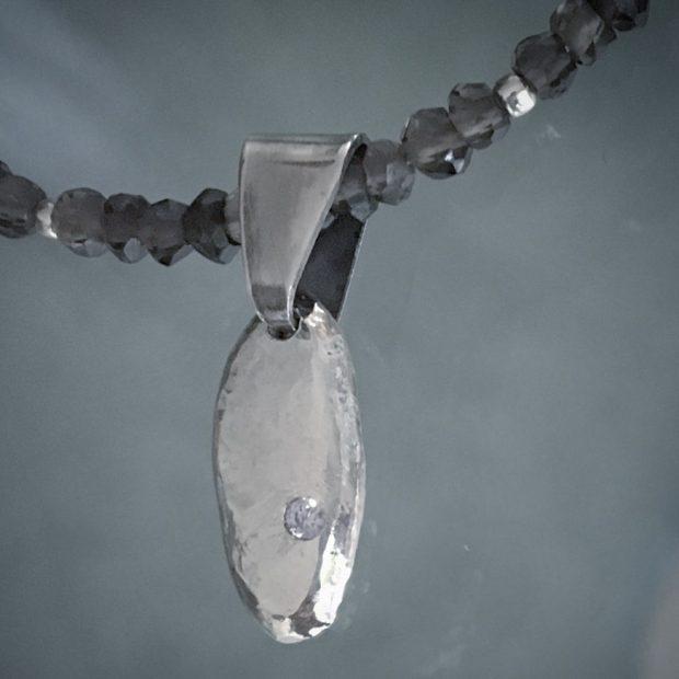 00349 Collier argent 925, quartz fumés et zirconium