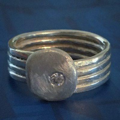 00379 Bague argent 925 et zirconium
