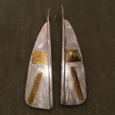 393 Boucles d'oreilles argent 925 et feuille d'or 24 ct.