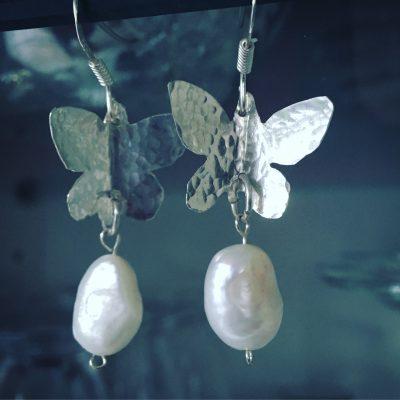 397 Boucles d'oreilles argent 925 et perles d'eau douce
