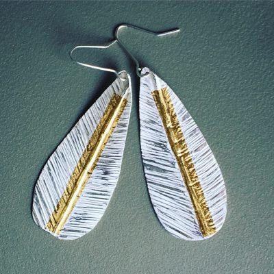 409 Boucles d'oreilles argent 925 et feuille d'or 24 ct.