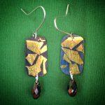 459 Boucles d'oreilles argent oxydé et feuille d'or