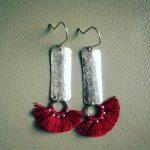 465 Boucles d'oreilles argent 925 et pompon textile