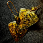 492 Boucles d'oreilles argent oxydé et feuille d'or, perles de Murano