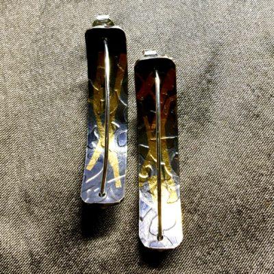 486 Boucles d'oreilles argent oxydé et feuille d'or